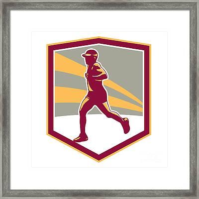 Marathon Runner Shield Retro Framed Print by Aloysius Patrimonio