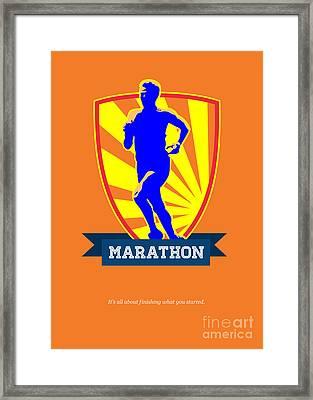 Marathon Runner Starting Run Retro Poster Framed Print by Aloysius Patrimonio