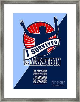 Marathon Runner Survived Poster Retro Framed Print by Aloysius Patrimonio