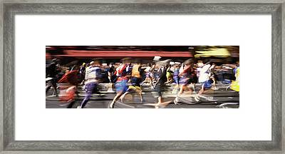 Marathon Runners On The Road, New York Framed Print by Panoramic Images