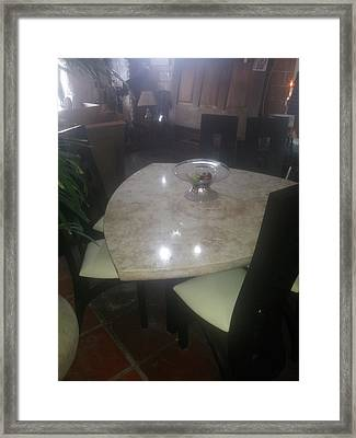 Marble Diamond Table Framed Print by Unique