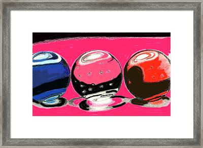 Marble Planets Framed Print by Mary Bedy