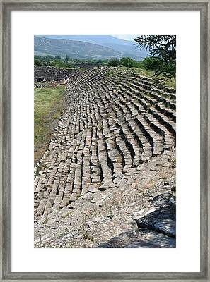 Marble Seats Of Aphrodisias Stadium Northwestern View Framed Print by Tracey Harrington-Simpson