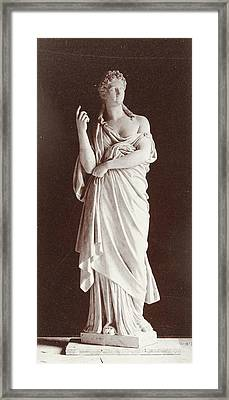Marble Statue Of A Woman Wearing A Toga, Louis-emile Framed Print
