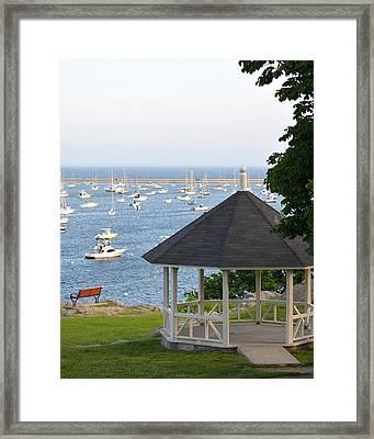 Marblehead Harbor Gazebo Framed Print by Toby McGuire