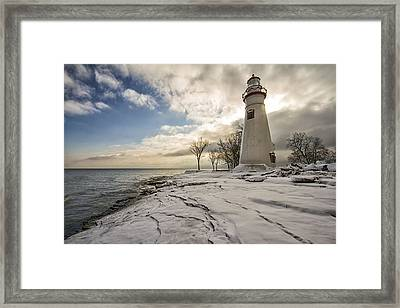 Marblehead In The Snow Framed Print by Laura James