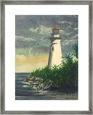 Marblehead Light On Lake Erie Framed Print