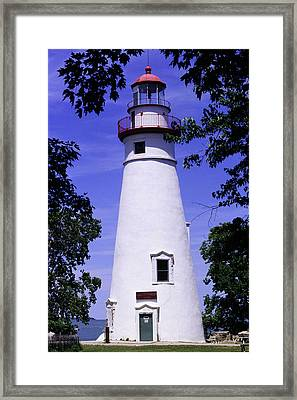 Framed Print featuring the photograph Marblehead Light by Terri Harper