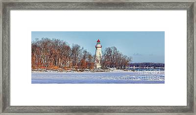 Marblehead Lighthouse In Winter Framed Print