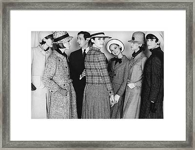 Marc Bohan, Elin Saltzman And Five Models Framed Print by Frank Horvat