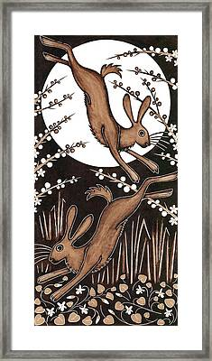 March Hares, 2013 Woodcut Framed Print by Nat Morley