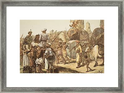 March Of The Indian Army, Engraved Framed Print by Gordon Frederick Browne