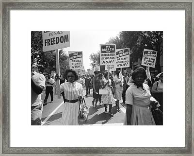 March On Washington Framed Print by Warren K Leffler