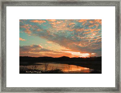Framed Print featuring the photograph March Sunset With Signature by Lorna Rogers Photography