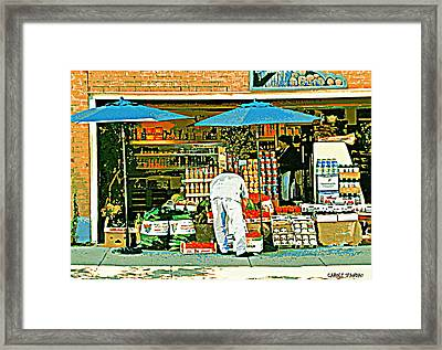 Marche Fruits Et Legumes Fruiterie And Convenience Store Vintage Montreal City Scene Framed Print by Carole Spandau