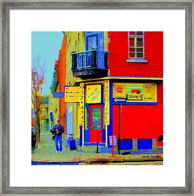 Marche Unique Cafe Sandwich Depanneur Rue St. Jacques St. Henri  Street Scenes Carole Spandau Framed Print by Carole Spandau