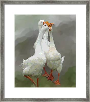 Marching Geese Framed Print by Karen Sheltrown