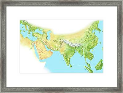 Marco Polo's Route Framed Print