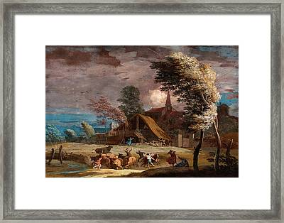 Marco Ricci, Italian 1676-1729, A Stormy Landscape Framed Print by Litz Collection
