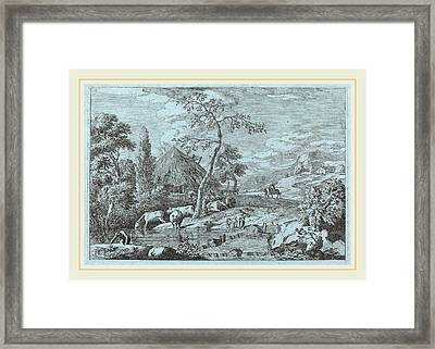 Marco Ricci Italian, 1676-1729, Cattle And Figures Framed Print by Litz Collection