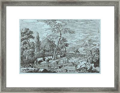 Marco Ricci Italian, 1676 - 1729, Cattle And Figures Framed Print by Quint Lox