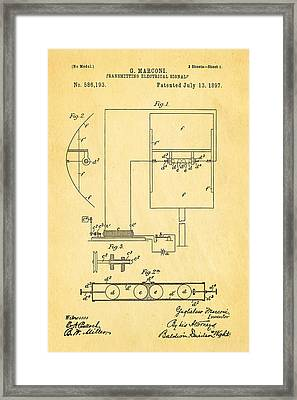 Marconi Radio Patent Art 1897 Framed Print by Ian Monk