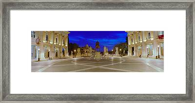 Marcus Aurelius Statue At A Town Framed Print by Panoramic Images