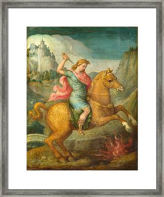 Marcus Curtius Framed Print by Bacchiacca