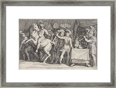 Marcus Furius Camillus Arrives In Rome, Italy Framed Print by Jan Saenredam And Polidoro Da Caravaggio And Claes Jansz. Visscher Ii
