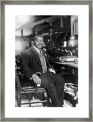 Marcus Garvey At His Desk Framed Print by Underwood Archives