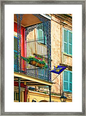 Mardi Gras Balcony 2 - Paint Framed Print by Steve Harrington