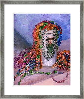 Framed Print featuring the painting Mardi Gras Beads In Louisiana by Lenora  De Lude