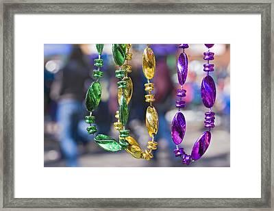 Mardi Gras Beads Framed Print by Ray Devlin