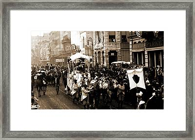 Mardi Gras Day, Rex Passing Up Camp Street, New Orleans Framed Print by Litz Collection