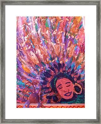 Mardi Gras Girl Revisited Framed Print by Anne-Elizabeth Whiteway