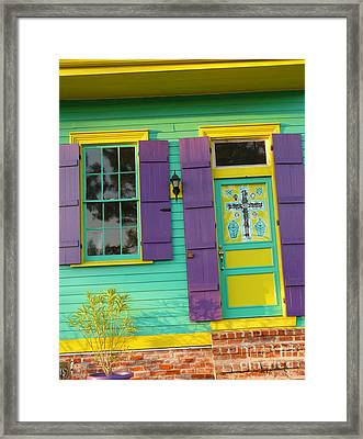 Mardi Gras House Framed Print by Jeanne  Woods