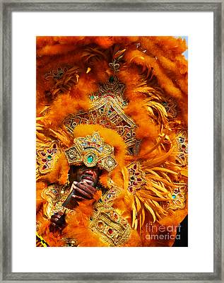 Mardi Gras Indian Orange Framed Print