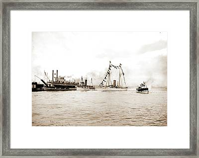 Mardi Gras, New Orleans, Approach Of Fleet With Rex Framed Print by Litz Collection