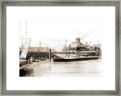 Mardi Gras, New Orleans, Awaiting Rex On The Levee, Piers & Framed Print by Litz Collection