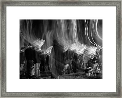 Mardi Gras Night Parade Monochrome Framed Print