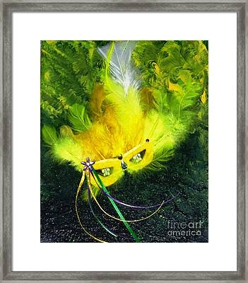 Framed Print featuring the painting Mardi Gras On Green by Alys Caviness-Gober