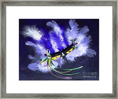 Framed Print featuring the painting Mardi Gras On Purple by Alys Caviness-Gober