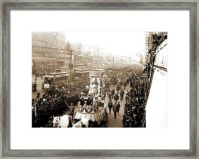 Mardi Gras Procession On Canal St, New Orleans, Parades & Framed Print by Litz Collection