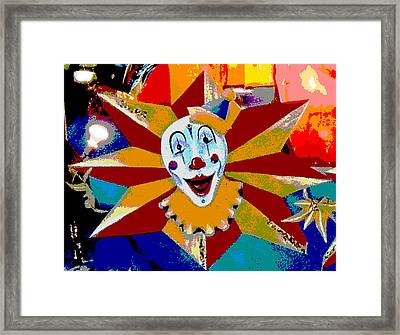 Mardi Gras Star Clown Posterized Framed Print by Marian Bell