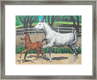 Framed Print featuring the painting Mare And Colt by Jeanne Fischer