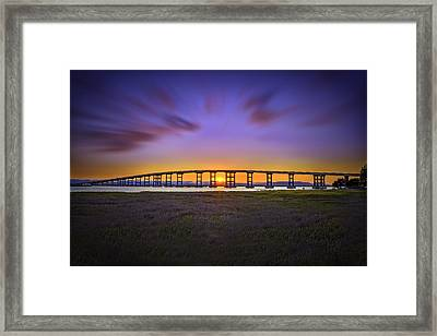 Mare Island Bridge At Sunset Framed Print by PhotoWorks By Don Hoekwater