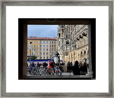 Mareinplatz And Glockenspiel Munich Germany Framed Print