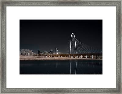 Framed Print featuring the photograph Margaret Hunt Hill Bridge And Dallas Skyline In Infrared by Todd Aaron