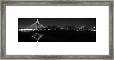Margaret Hunt Hill Bridge Dallas Skyline Black And White Framed Print by Jonathan Davison
