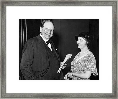Margaret Sanger With Senator Framed Print